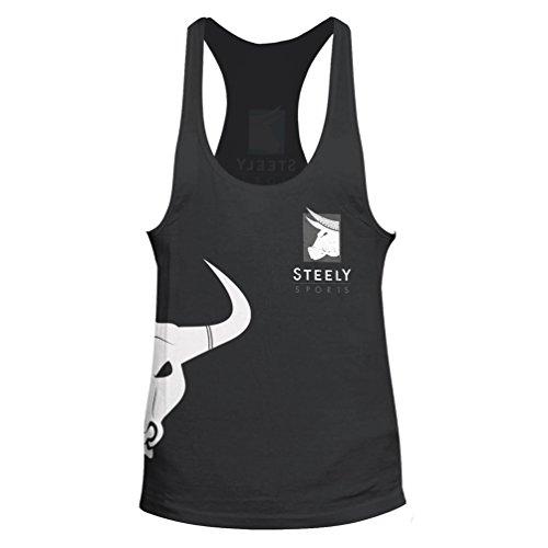 """Stringer """"Classic Logo"""" Tank-Top Colore: grigio – sportivo maglietta Bodybuilding Fitness - Steely-Sports"""