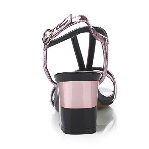 Hebilla mujer Microfibra sólida de VogueZone009 Tacones tacón Rosa con abiertos Microfibra alto E1Wdf7Z