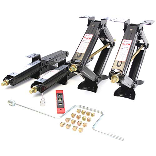 Red Hound Auto Quantity 4 24 in. RV Stabilizer Scissor Leveling Jacks with Handle, Screws, Drill Socket and Level 5000 Pound (2.5 Ton Each)