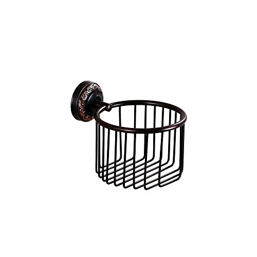 - Kelelife Wall Mounted Toilet Paper Holder Basket Antique Black Bathroom Storage Organizer Container, Oil Rubbed Bronze