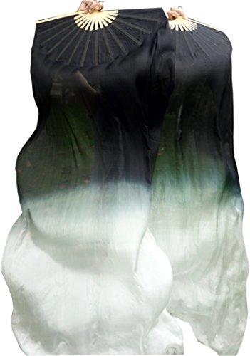 Winged Sirenny 1 Pair (1R+1L) 1.8mx0.9m Light& Sturdy Belly Dance Real Silk Fan Veil, Black Starts (Dance Worship Costumes)