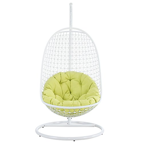 Modway Encounter Outdoor Patio Swing with Stand – White Frame, Green Cushion Review