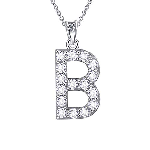 Besilver Initial Letter Necklace 925 Sterling Silver Crystal Iced Out Alphabet Pendant Women Girl Monogram Name Jewelry Bridal Style Necklace - Initial Crystal Pendant