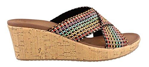 Skechers Cali Women's Beverlee Delighted Wedge Sandal, Multi, 8 M US (Skecher Wedge Sandals)