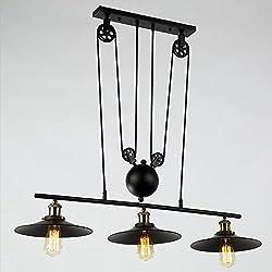 Dst Retro Pendant Retractable Chandelier Pendant, Vintage Adjustable Hanging Ceiling Light Pendant Light for Island, Dining, Bar (Matte Black)