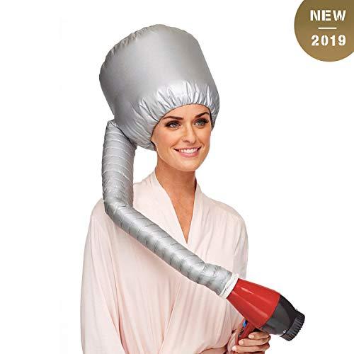 (Bonnet Hair Dryer GUHEE Soft Bonnet Hood Hair Dryer Attachment, Adjustable Large Hooded Cap for Drying Styling Curling Deep Conditioning, Portable Hood Bonnet for Hand Held Hair)