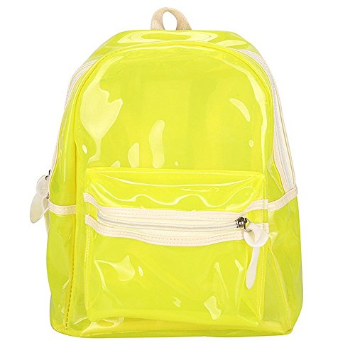 Fashion Perspective Backpack LED Light Glitter Jelly For Women Teen Girls Transparent Waterproof Transparent Backpack Electronic Bag (Green, 24cm13cm30cm) by Luca-backpack
