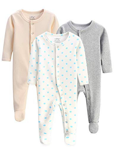 lifely 3 Pack Baby Pajamas Footed Baby Boy Girl Pajamas Cotton Infant Sleeper Footie 3-6 Months Romper Overall Baby Pajama Set Long Sleeve with Sleeve ()