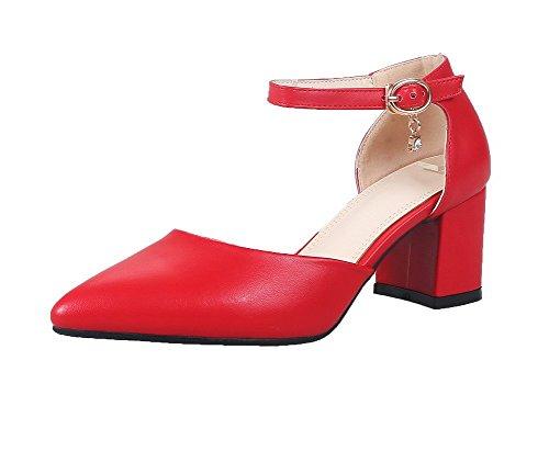 Sandali Women Buckle Pointed Rosso unita Pu a Tsmlh006800 punta Aalardom tinta Dress With sandali wpxIqEdng