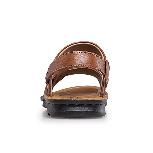Salabobo QYY-6166 New Mens Leather Leisure Breathable Athletic Beach Cozy Sandals Brown UK Size6 Xzih0