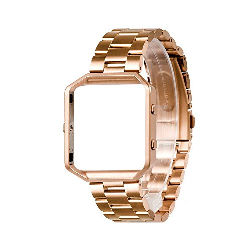 Wearlizer Compatible for with Fitbit Blaze Band Men Lux Band Accessories Metal Link Bracelet Replacement Strap Metal Frame Replacement Fitbit Blaze Rose ()