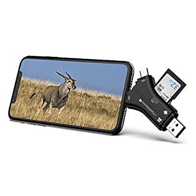 Campark Trail Camera SD Card Viewer Compatible with iPhone iPad Mac or Android, SD and Micro SD Memory Card Reader to View Wildlife Game Camera Hunting Photos or Videos on Smartphone