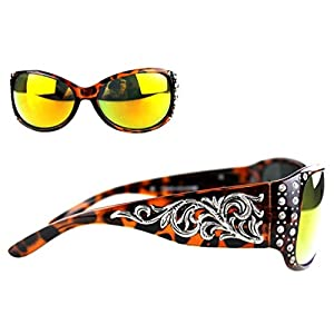 SGS-3502 Montana West Boot Scroll Collection Fashion Sunglasses with Bling (Leopard, Colored)