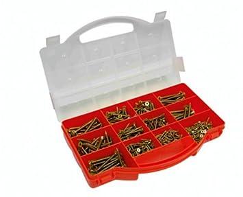 Connex DP8500085 Spanplattenschrauben-Sortimentskasten, TX Sternkopf-Antrieb, Senkkopf, 900- teilig, gelb-verzinkt Conmetall