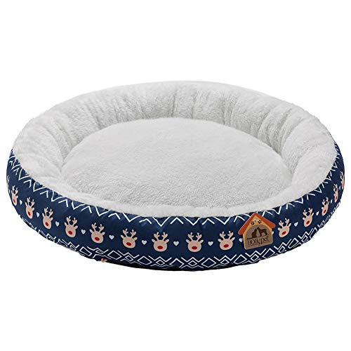 Hollypet Printed Flannel Round Plush Dog Cat Bed Self-Warming Pet Bed, Blue Deer
