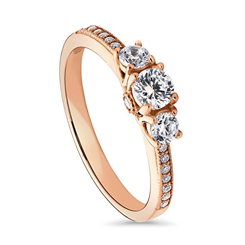 BERRICLE Rose Gold Plated Sterling Silver Round Cubic Zirconia CZ 3-Stone Anniversary Promise Engagement Ring 0.57 CTW Size 7 ()