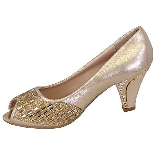 Sandales Or Demoiselle Neuf Femmes Moyen House Bl1813 Femmes D'Honneur Mariage A Enfiler Talon Sandal Diamant Ouvert Bout wqCZxRXf