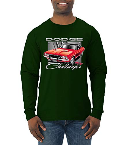 Dodge Challenger R/T Classic Licensed Retro | Mens Cars and Trucks Long Sleeve T-Shirt, Forest Green, Medium