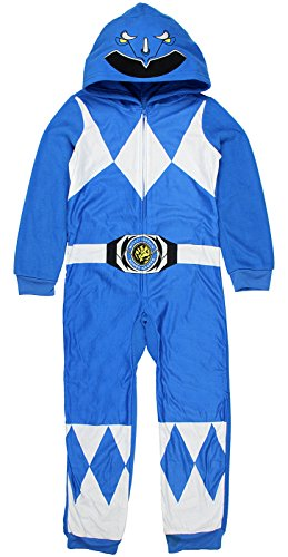 INTIMO Mighty Morphin Power Rangers Kids Critter Hooded Pajamas (Blue, 10) ()