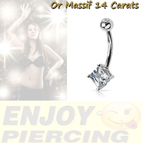 Piercing Nombril Or Massif 14 Carats Or Gris Cristal Blanc