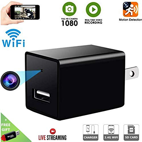 Hidden Spy Camera-1080P HD Baby Camera- Home Covert Surveillance Cam -WiFi Wall Charger Spy Camera- Mini USB  Nanny Cam  -Motion Detection Alert  - Live Remote Video Viewing with Phone APP