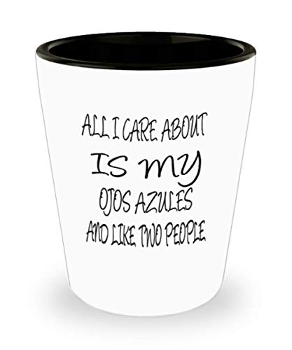 Ojos Azules Gifts White Ceramic Shot Glass - All I Care About - For Mom and Dad Cup for Coffee or Tea Cats Lover ak7740]()