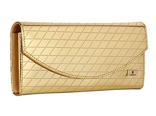 K London Artificial Leather Golden Festive Hand Held Clutch Purse for Women (1614_gldn_cris_cros_ful) || Ramadan Gift