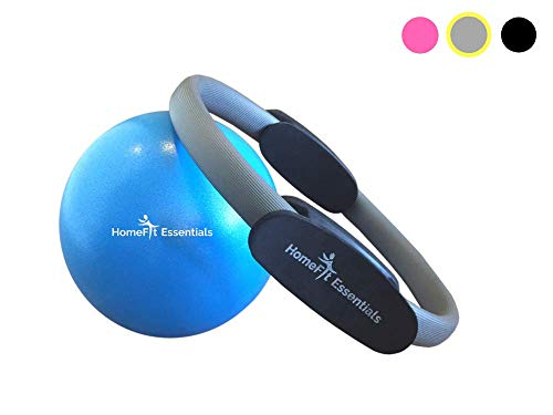 HomeFit Essentials Pilates Ring - Fitness Resistance Magic Circle & 9 Inch Exercise Ball - Professional Pilates Equipment for Yoga, Core Training and Physical Therapy