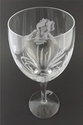 IncisoArt Hand Etched Italian Crystal Goblet Sandblasted (Sand Carved) Handmade Wine Water Glass Engraved (Iris Flower, 340 Milliliter (11.5 Ounce) White Wine)
