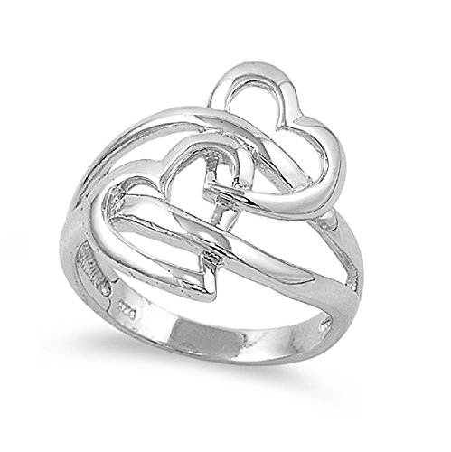925 Sterling Silver Double Heart Design Ring Size (Sterling Silver Double Heart Ring)
