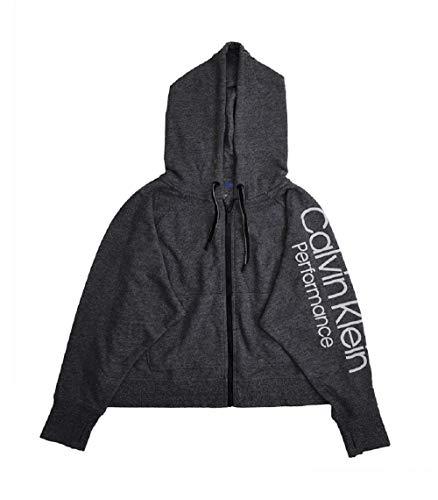 (Calvin Klein Performance Logo Zip Hoodie Grey Small)