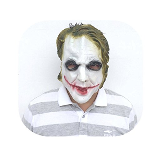 Cosplay Dark Knight Clown Halloween Costume mask Show Party Decoration Props White]()