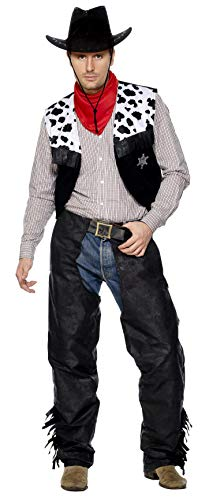 Smiffys Men's Cowboy Costume, Chaps, Waistcoat, Belt and Neckerchief, Western, Serious Fun, Size L, 31754