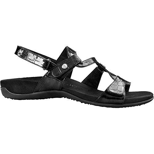 Vionic Women's Rest Paros Backstrap Sandal Black Patent