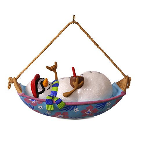 Hallmark Keepsake 2017 Mele Kalikimaka Snowman in Hammock Musical Christmas Ornament ()