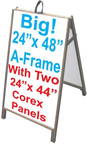 48'' Wood A-Frame Sidewalk Signs - Coroplast Panels! by Accent Printing & Signs