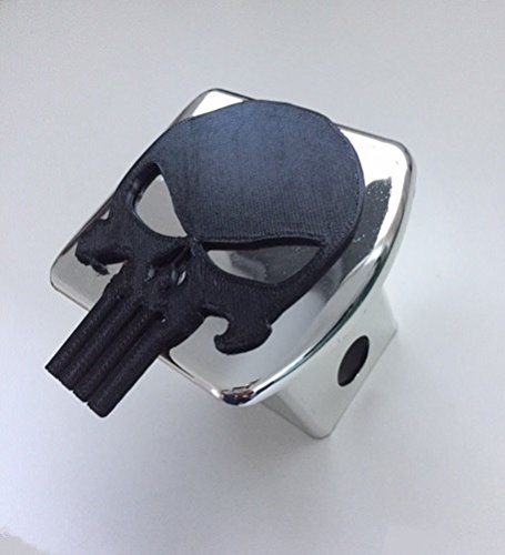 (Punisher Skull in 3d - Chrome with BLACK - 2 inch Trailer Hitch Cover - Skeleton)