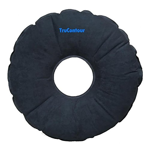 Self Inflatable Donut Cushion for Hemorrhoids, Tailbone, Coccyx, Prostate, Pregnancy, Postnatal and Pressure Sore Issues. Air Pillow Plus Internal Memory Foam Ring. Easy to Transport. (Black) by TruContour