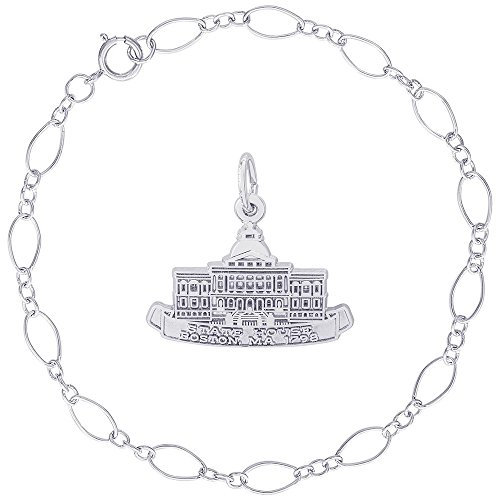 Rembrandt Charms Sterling Silver Boston State House Charm on a Figaro Link Bracelet, ()