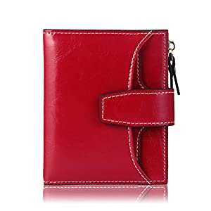 FT FUNTOR RFID Leather Wallet for Women, Ladies Card Holder Wallet, Small Compact Bifold Pocket Wallet with ID Window