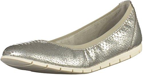 Tamaris - Bailarinas de Piel para mujer plateado Silber (Silver Struct. 927)