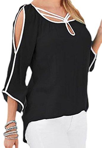 erdbeerloft - Camiseta de manga larga - Opaco - para mujer negro