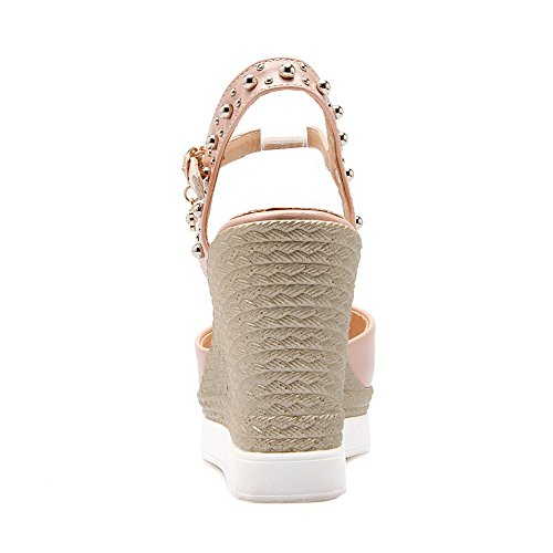 Rivet Heels Pink Womens Toe Buckle Open Sandals High AmoonyFashion Solid with Studded fqXwvHg