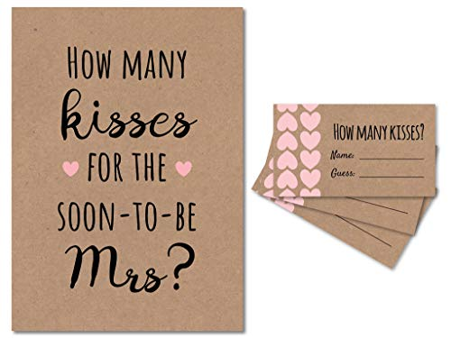 How Many Kisses for the Soon to be Mrs Bridal Shower Game (Kraft/Pink) 1 Sign + 30 Cards, Made in the USA (1)]()