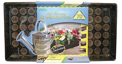 Jiffy T70H 70 Cell Self Watering Seed Starting Tray / Greenhouse with Peat Pellets - Quantity 7