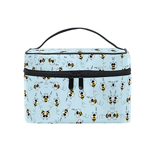 Cute Honey Bee Women Makeup Bag Travel Cosmetic Bags Toiletry Train Case Beauty Pouch Organizer -