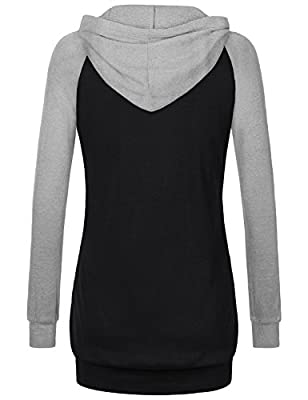 Cestyle Womens Long Sleeve V Neck Casual Tunic Sweatshirt Hoodie