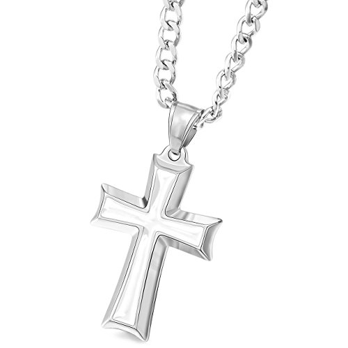 MOWOM Silver Tone White Stainless Steel Enamel Pendant Necklace Cross 23 Inch Chain