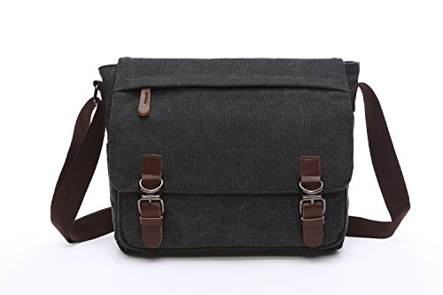 Mestart Messenger Bag School Bag Business Briefcase Shoulder Bag Black Large