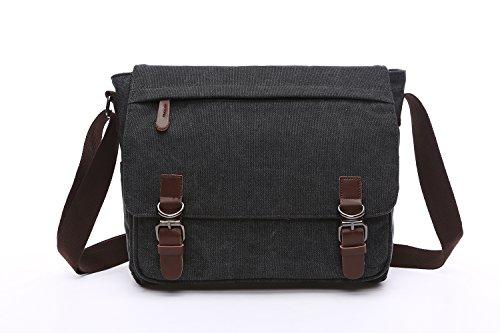 Mestart Messenger Bag School Bag Business Briefcase Shoulder Bag Black Large